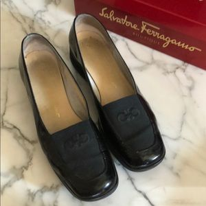 Ferragamo Black Patent Wedged Loafers